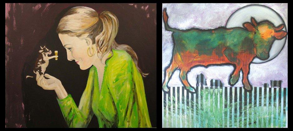 """Kunstwerke """"Selbstportrait"""" und """"Eine fliehende Kuh"""" von Katharina Schick"""
